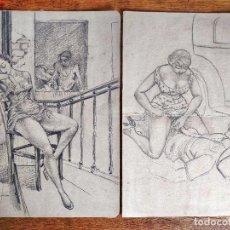 Arte: MARAVILLOSO LOTE DE DIBUJOS ORIGINALES ERÓTICOS ART DECO, RAROS. Lote 125753939