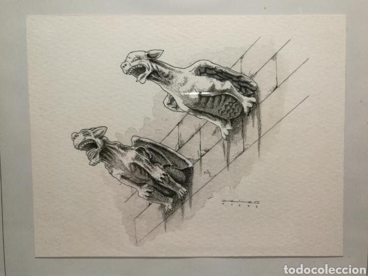 Rebajado Dibujo Original Firmado Gárgolas