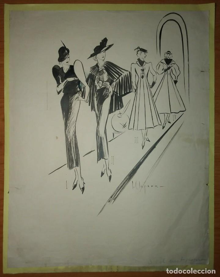Arte: Original firmado Pere Clapera Argelaguer (1906-1984) Pasarela de moda 56x44 - Foto 5 - 118265067