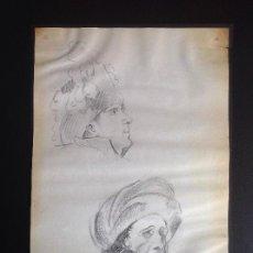 Arte: J. MORENO CARBONERO. ESTUDIÓ DE CARAS.. Lote 126227867