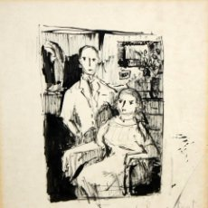 Arte: JESUS CASAUS MECHO (BARCELONA, 1926 - 2002) DIBUJO ORIGINAL A TINTA. AÑO 1966. BOCETO SRS. CALDERON. Lote 126248319