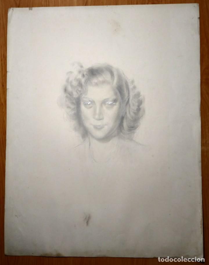 Arte: 1944 GERARDO CARBONELL (Barcelona, 1894 – 1968) Retrato a lápiz (65x50) - Foto 2 - 126277635