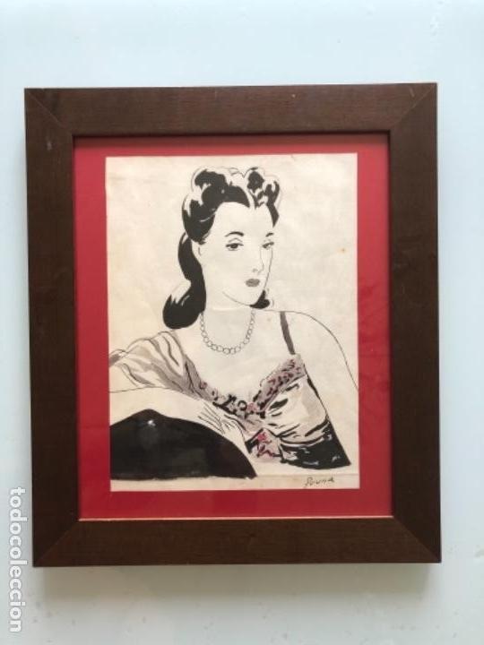 DIBUJO ORIGINAL A TINTA Y AGUADA, DAMA, FIRMADO PRUNA AÑOS 20-30 (Arte - Dibujos - Contemporáneos siglo XX)