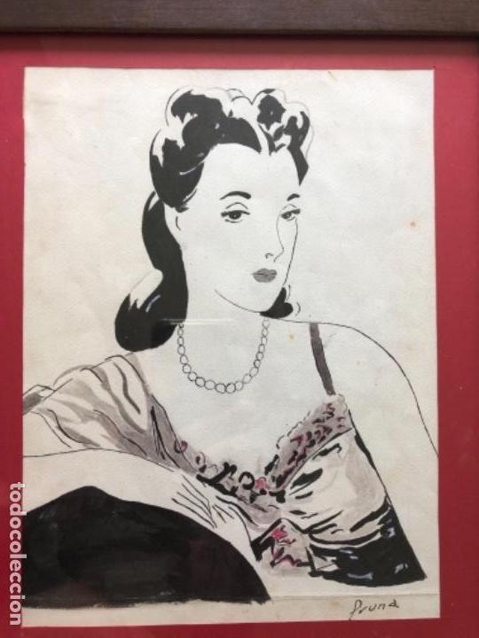 Arte: DIBUJO ORIGINAL A TINTA Y AGUADA, DAMA, FIRMADO PRUNA AÑOS 20-30 - Foto 3 - 126308591