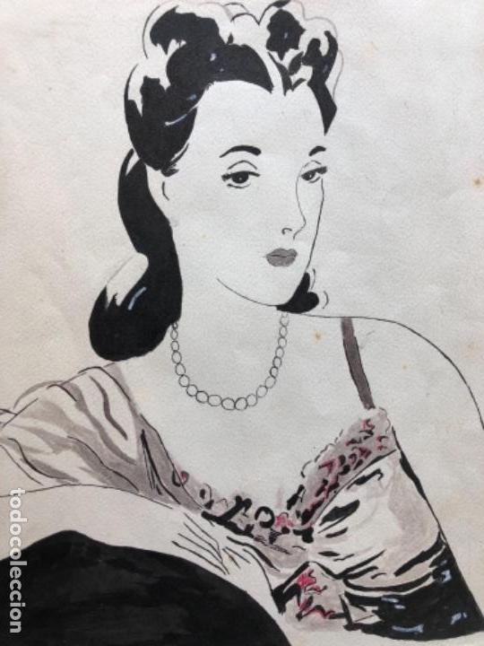 Arte: DIBUJO ORIGINAL A TINTA Y AGUADA, DAMA, FIRMADO PRUNA AÑOS 20-30 - Foto 4 - 126308591
