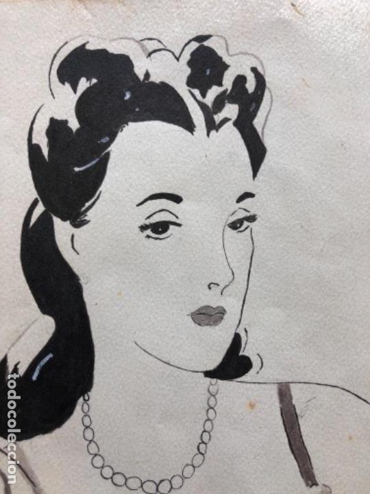 Arte: DIBUJO ORIGINAL A TINTA Y AGUADA, DAMA, FIRMADO PRUNA AÑOS 20-30 - Foto 5 - 126308591