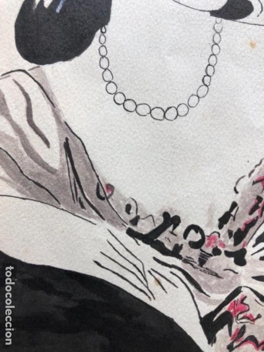Arte: DIBUJO ORIGINAL A TINTA Y AGUADA, DAMA, FIRMADO PRUNA AÑOS 20-30 - Foto 6 - 126308591