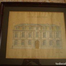 Arte: DIBUJO ARQUITECTONICO ORIGINAL DE 1912. CASA ADMINISTRACION. RAFAEL PALLAS??. 48X40CM MIDE EL DIBUJO. Lote 126336959