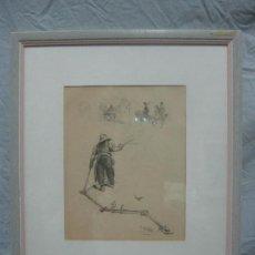 Arte: PRECIOSO DIBUJO A LAPIZ FIRMADO POR ADOLPHE WILLETTE (1857-1926) FINALES DEL SIGLO XIX, PIEZA UNICA. Lote 126385211