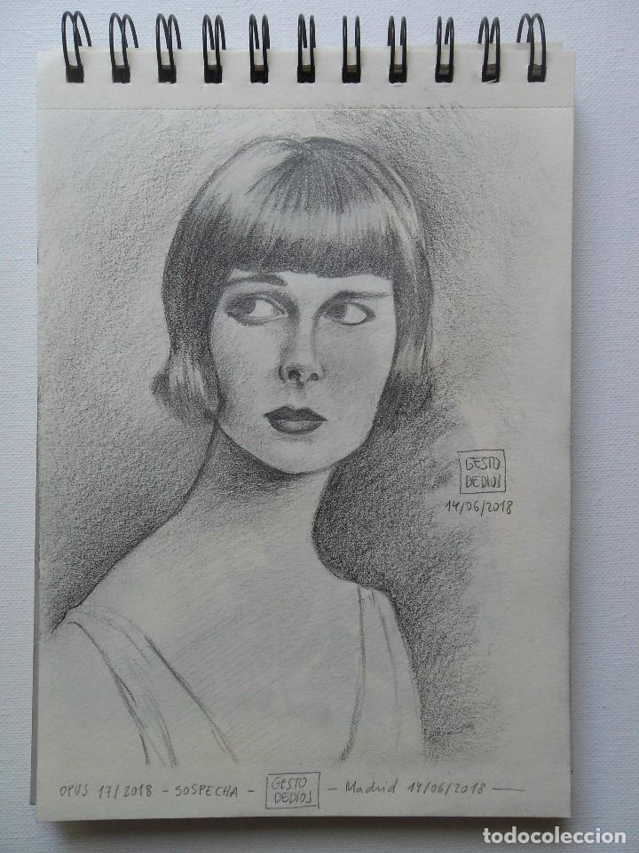 Arte: GESTODEDIOS (Salamanca, 1971). Dibujo original a lápiz, retrato chica, dibujo mujer - Foto 2 - 126451719
