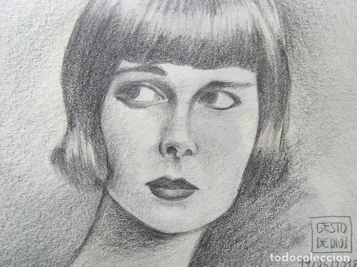 Arte: GESTODEDIOS (Salamanca, 1971). Dibujo original a lápiz, retrato chica, dibujo mujer - Foto 3 - 126451719
