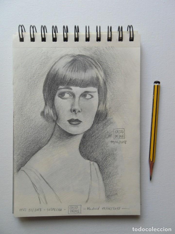 Arte: GESTODEDIOS (Salamanca, 1971). Dibujo original a lápiz, retrato chica, dibujo mujer - Foto 4 - 126451719