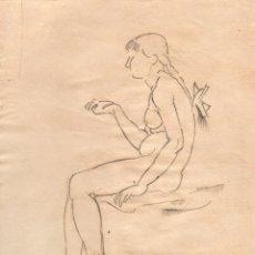 Arte: DIBUJO ORIGINAL DE E. C. RICART. DE 1918. MUJER DESNUDA SENTADA CON TRENZA Y LAZO. Lote 126431747