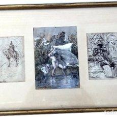 Arte: JOSÉ SERRA Y PORSON - TRES DIBUJOS ENMARCADOS - 1828 - 1910. Lote 126568467