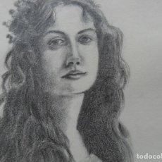 Arte: GESTODEDIOS (SALAMANCA, 1971). DIBUJO ORIGINAL A LÁPIZ, RETRATO CHICA, DIBUJO MUJER, BELLE EPOQUE. Lote 126569703