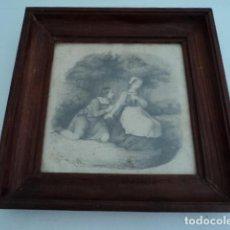 Arte: PRECIOSO DIBUJO ANTIGUO ESCENA ROMANTICA FECHADO 1826 FIRMA ILEGIBLE FRANCES. Lote 126650863