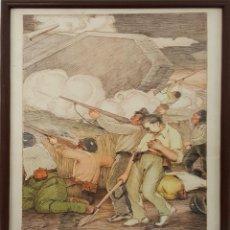 Arte: ESCENA DE BATALLA. DIBUJO SORE PAPEL. TECNICA MIXTA. TINTA Y PASTEL. J. VAL. 1937.. Lote 126658611