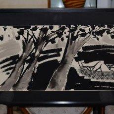 Arte: CUADRO ORIGINAL DE JOSE LUIS PASCUAL DE LA SERIE -PENSANDO AGUA- FECHADO 1988 ENMARCADO 104 X 44 CM.. Lote 127506839