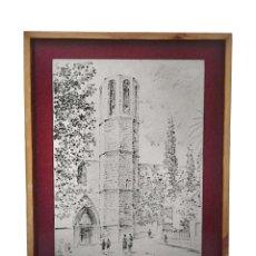 Arte: MONASTERIO DE PEDRALBES, TINTA, FIRMADO POR J. M, SERRA, 1962, PRECIOSO.. Lote 122922251