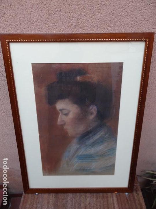 Arte: Retrato al pastel de señora.firmado bertran 1912.Buen trazo. - Foto 2 - 127797543