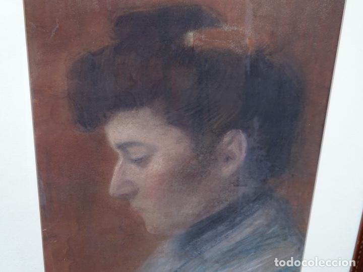 Arte: Retrato al pastel de señora.firmado bertran 1912.Buen trazo. - Foto 3 - 127797543