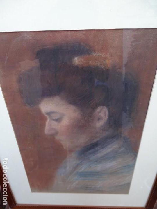 RETRATO AL PASTEL DE SEÑORA.FIRMADO BERTRAN 1912.BUEN TRAZO. (Arte - Dibujos - Contemporáneos siglo XX)