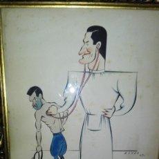 Arte: CARICATURA DEL DOCTOR ANTONIO MARMIÑA, FIRMADA MOURO 1943. Lote 127844911