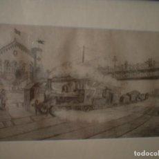 Arte: EL PRIMER TREN DE ESPAÑA S XIX. Lote 127853631