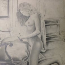 Arte: GRAN DIBUJO EROTICO ORIGINAL REALIZADO A CABONCILLO Y FIRMADO POR AUTOR. Lote 127905498