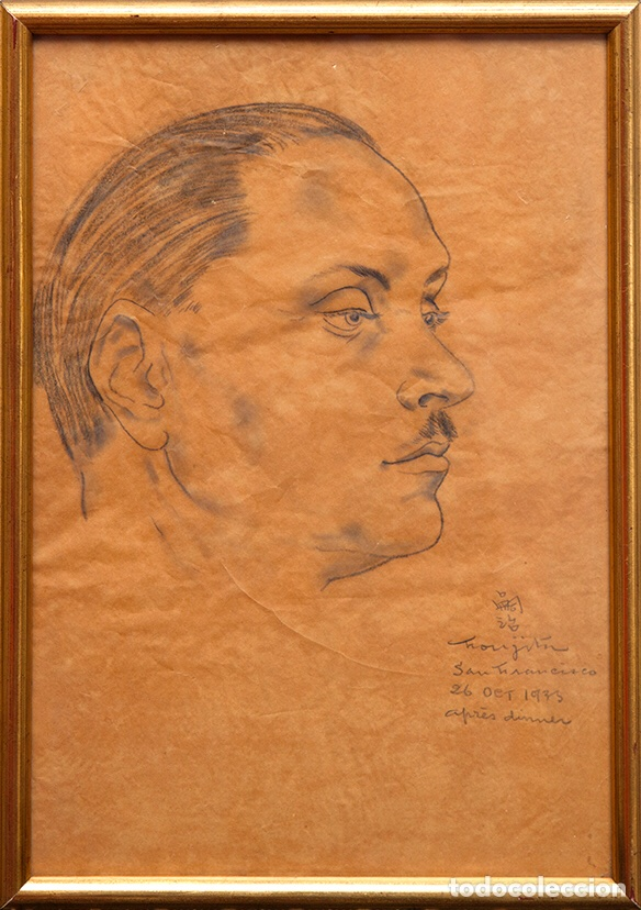 Arte: Tsuguharu Foujita. 1935. Retrato de Antonio Rodríguez-Martín. Vanguardias. Nuevos Realismos. - Foto 5 - 127978716