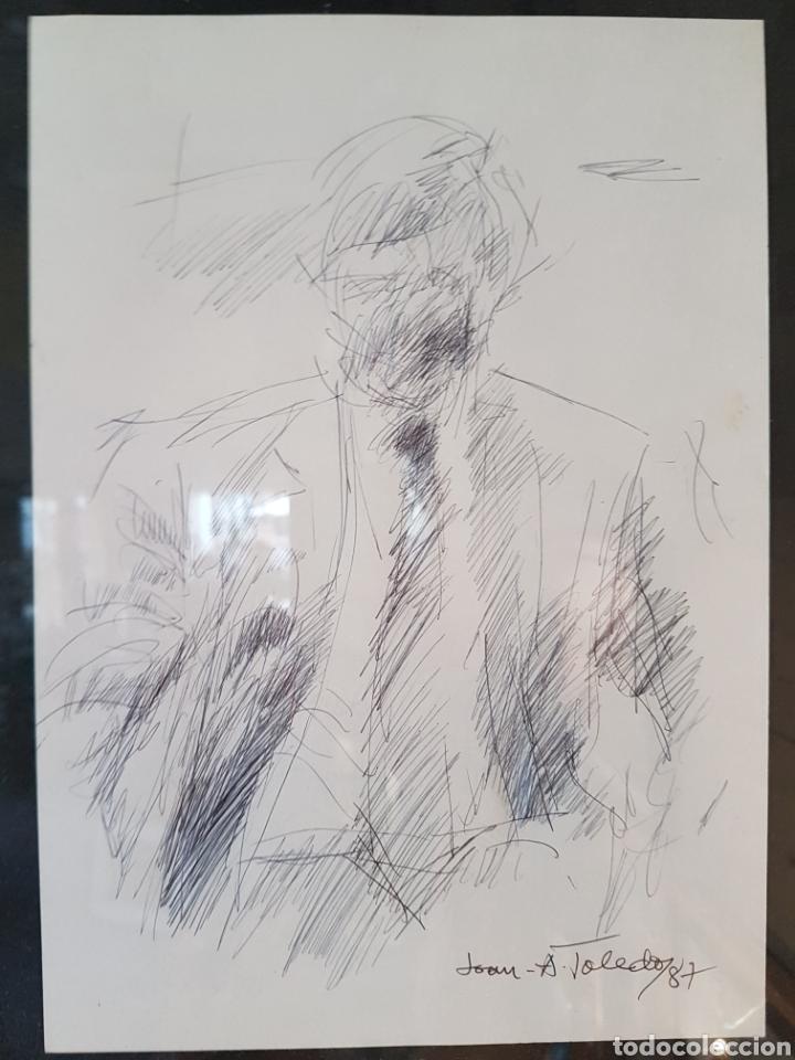 JUAN ANTONIO TOLEDO (EQUIPO CRÓNICA) BOCETO DE PERSONAJE, BOLÍGRAFO SOBRE PAPEL FIRMADO 1987 (Arte - Dibujos - Contemporáneos siglo XX)