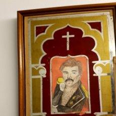 Arte: ILUSTRACIÓN ORIGINAL DE FREDDIE MERCURY, CON ANTIGUO MARCO CON CRISTAL PINTADO, RELIGIOSO. LOLAILA C. Lote 128057948