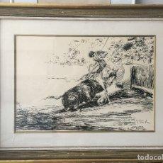 Arte: ANTONIO CASERO PLUMILLA ORIGINAL FIRMADA Y DEDICADA EN 1965 , TAUROMAQUIA. Lote 128220075