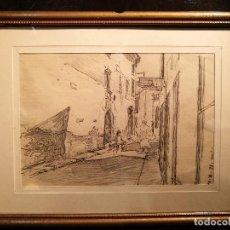 Arte: CALLE DE PUEBLO POR SEGUNDO MATILLA (1862-1937). Lote 128257983