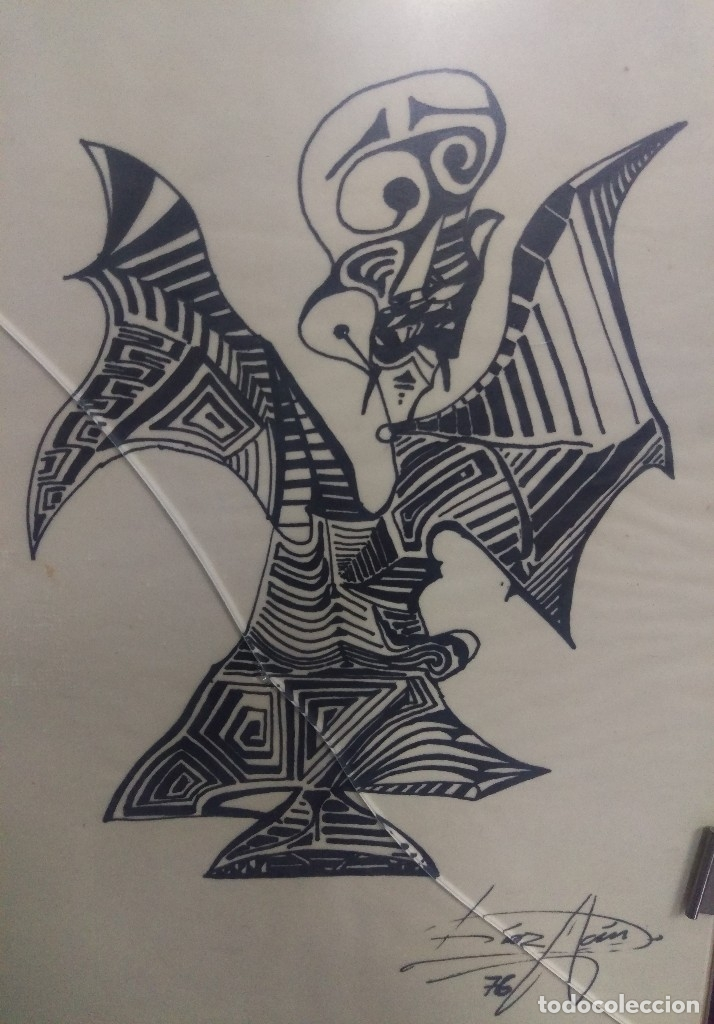 Figura Surrealista Dibujo Tinta Original Firmad Comprar Dibujos