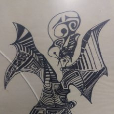 Arte: FIGURA SURREALISTA DIBUJO TINTA ORIGINAL FIRMADA DIAZ ACIN 78'. Lote 128315439