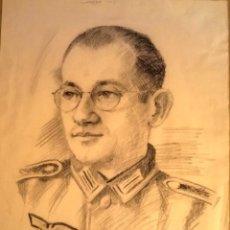 Arte: DIVISION AZUL,RETRATO A CARBON DE SOLDADO/OFICIAL,1942,FIRMA AUTOR,CON CRUZ DE HIERRO,VOLJOV,RUSIA. Lote 128496915