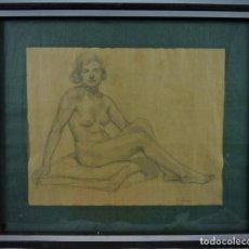 Arte: HERMOSO DIBUJO - DESNUDO DE MUJER - S.XX. Lote 128647711