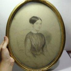 Arte: ANTIGUO RETRATO DE MUJER. PINTADO A CARBONCILLO. FIRMADO Y FECHADO EN 1846.. Lote 128655779