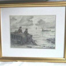 Arte: MARINA PESCADORES CARBÓN AÑO 1937, VILA CAÑELLAS VIC 1913-01. Lote 128659231