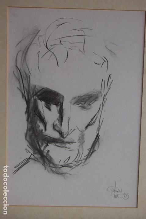 Arte: Gómez Navas (Málaga 1931) Dibujo a lápíz y carboncillo de 23x33 enmarcado en31x41.1995.Buen estado. - Foto 2 - 128779683