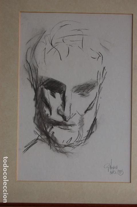 Arte: Gómez Navas (Málaga 1931) Dibujo a lápíz y carboncillo de 23x33 enmarcado en31x41.1995.Buen estado. - Foto 3 - 128779683