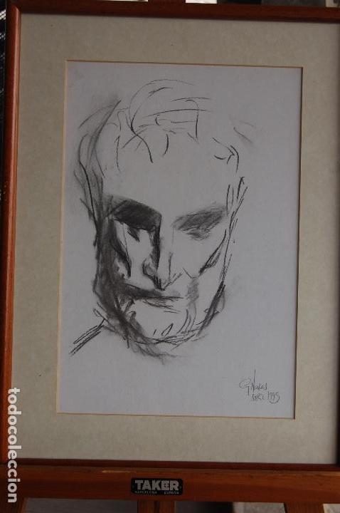 Arte: Gómez Navas (Málaga 1931) Dibujo a lápíz y carboncillo de 23x33 enmarcado en31x41.1995.Buen estado. - Foto 4 - 128779683