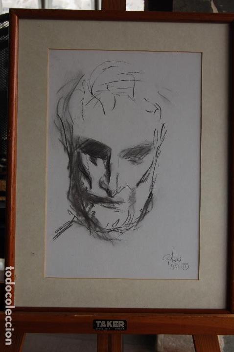 Arte: Gómez Navas (Málaga 1931) Dibujo a lápíz y carboncillo de 23x33 enmarcado en31x41.1995.Buen estado. - Foto 5 - 128779683