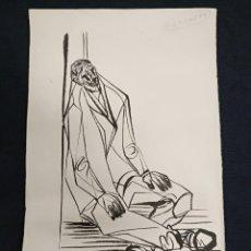 Arte: DIBUJO ORIGINAL - EL INFARTO - O ENFARTE - CLÓVIS GRACIANO - 21 - 04 - 1960 - FIRMADO POR EL AUTOR. Lote 128888619