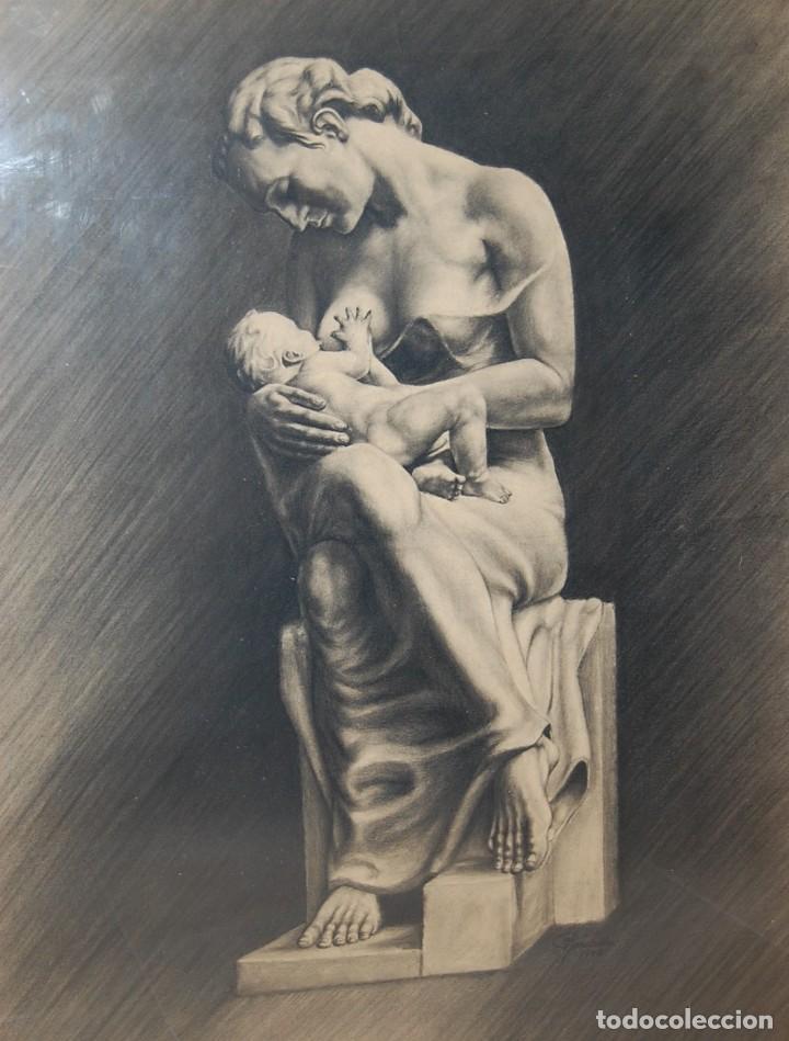 ITALO PRADELLA (1923-1978) ?? - MATERNIDAD - ORIGINAL 1947 (Arte - Dibujos - Modernos siglo XIX)