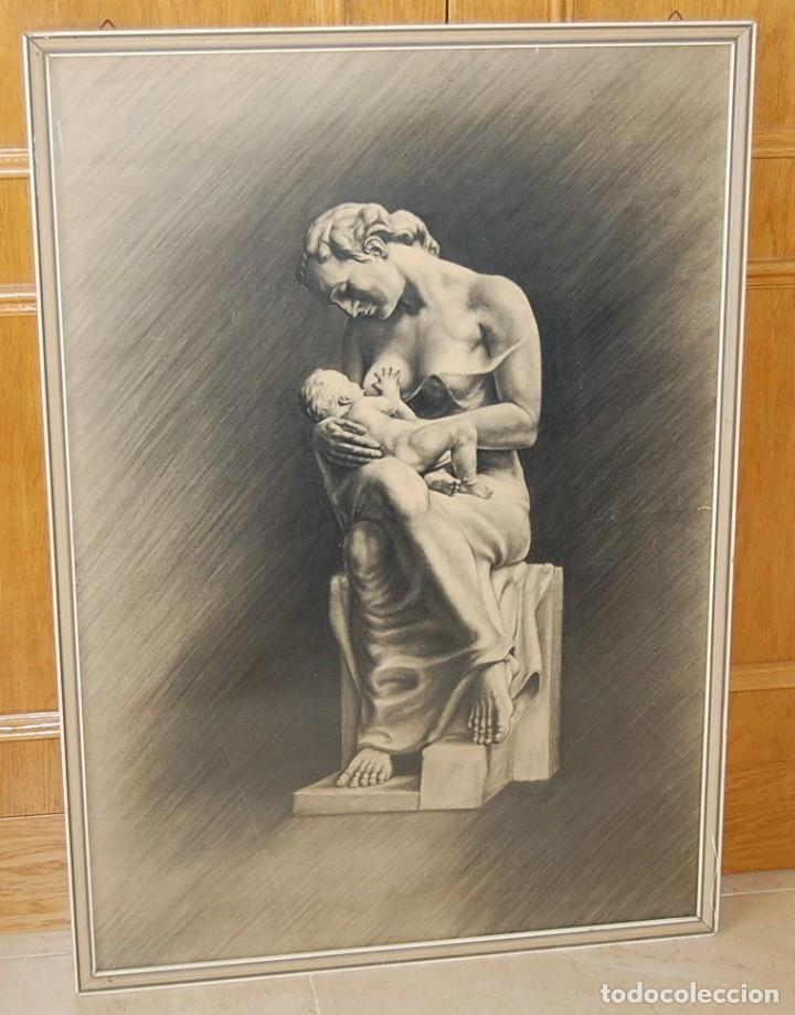 Arte: ITALO PRADELLA (1923-1978) ?? - MATERNIDAD - ORIGINAL 1947 - Foto 4 - 128975291