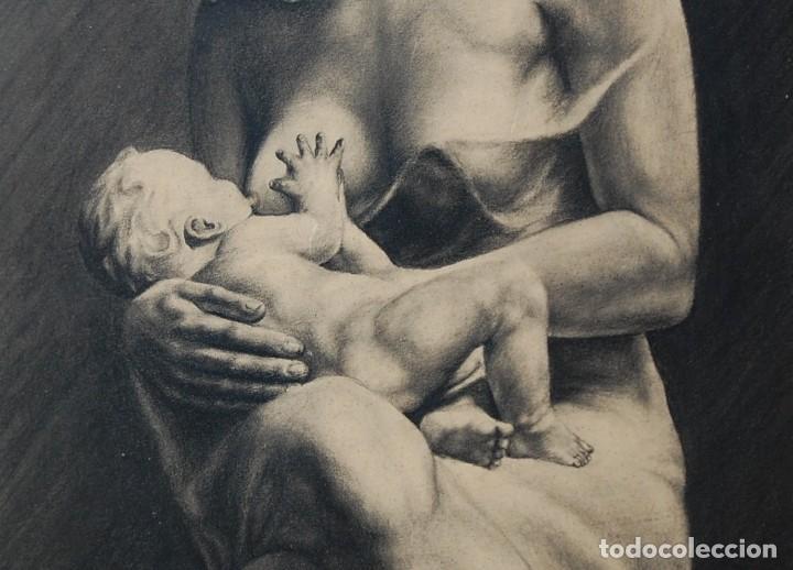 Arte: ITALO PRADELLA (1923-1978) ?? - MATERNIDAD - ORIGINAL 1947 - Foto 3 - 128975291