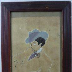 Arte: DIBUJO ORIGINAL DE PASSARELL DEDICADO A SU AMIGO ROVIRA 1912. Lote 129005819