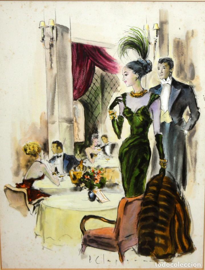 PERE CLAPERA ARGELAGUER (1906 - 1984) GOUACHE SOBRE PAPEL. PAREJA GALANTE (Arte - Dibujos - Contemporáneos siglo XX)